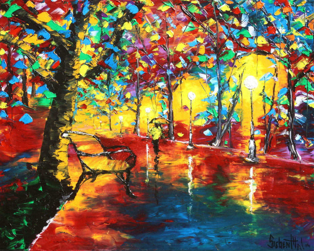 walk in the rain leonid afremov oil painting by eric siebenthal